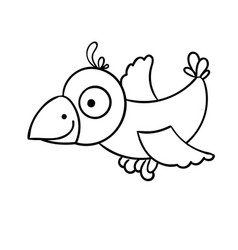 awesome cartoon little flying bird crow vector image