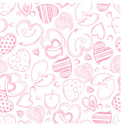 Ballpoint pen drawing hearts seamless pattern vector