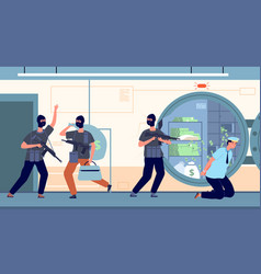 bank robbery banking robbers with money cartoon vector image