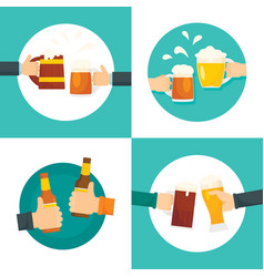 Beer cheers bottles glass banner set flat style vector