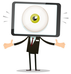 Big brother eye in mobile phone head vector