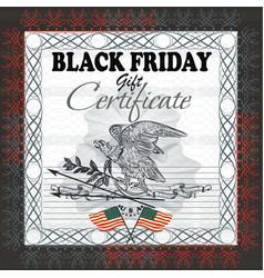 black friday gift certificate with flag usa eagle vector image