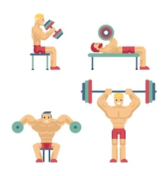 Bodybuilding and Weightlifting Icons in Flat Style vector
