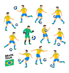 brazil football team brazil soccer players full vector image