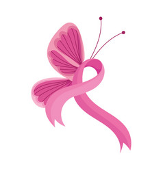 breast cancer awareness month pink butterfly vector image
