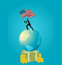 businessman holding the flag of usa on world globe vector image