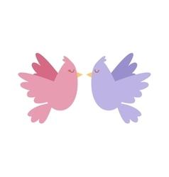cartoon couple doves in love icon vector image