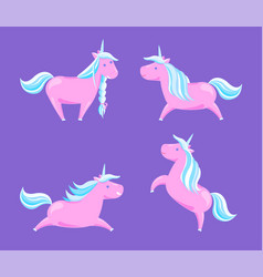 cartoon horses fairy tale legend horned creatures vector image