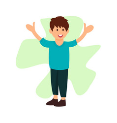 Cheerful little boy smiling flat character vector