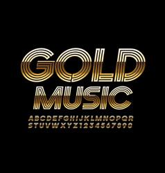 chic emblem gold music stylish font vector image