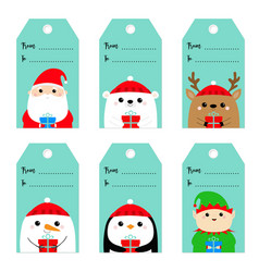 christmas gift tag set santa claus elf snowman vector image