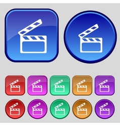 Cinema Clapper sign icon Video camera symbol Set vector image