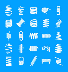 coil spring cable icons set simple style vector image
