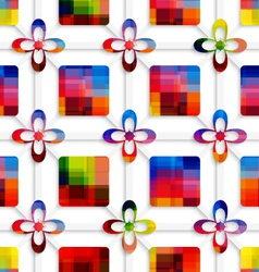 Colorful squares and colorful flowers on net vector image
