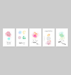 Colorful watercolor ink with cute card set vector