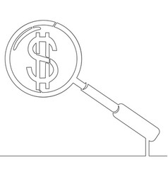 continuous one line magnifier and dollar concept vector image