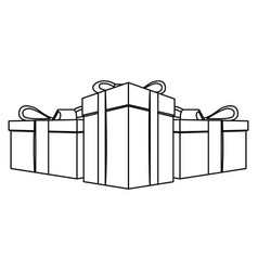 contour gift boxes icon vector image