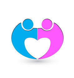 Couple relationship love icon logo vector