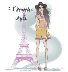 Cute summer girl vector