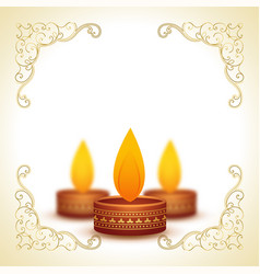 Decorative diya lamps for diwali and text space vector