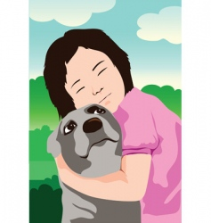 dog and kid vector image vector image