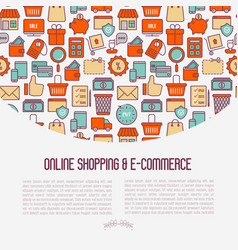 e-commerce shopping concept with thin line icons vector image