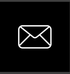email line icon on black background black flat vector image