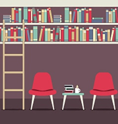 Empty Chairs Under Bookshelves vector