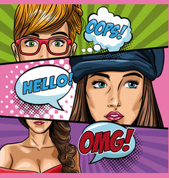 Fashion womens pop art cartoon vector
