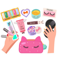 Female cosmetics skin care and beauty banner vector