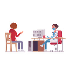 female doctor therapist consulting patient vector image