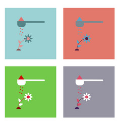 Flat icon design collection fertilizer and flower vector
