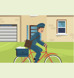 Flat postal bicycles are made in corporate style vector
