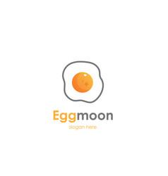 fried egg moon logo design vector image