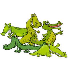 Funny crocodiles cartoon animal characters vector