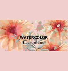 gerbera floral banner watercolor beautiful vector image