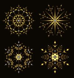 gold shining snowflake vector image
