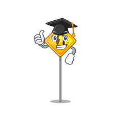 Graduation u turn sign shaped cartoon vector