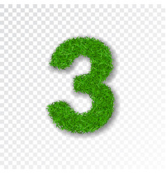 Grass number three green number three isolated vector