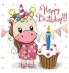 Greeting card cute unicorn with cake vector