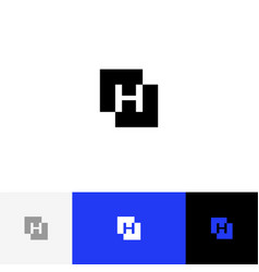 h in square minimalism logo letter h vector image