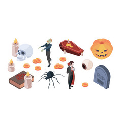 halloween icons items for traditional scary vector image