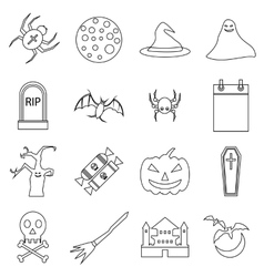 Haloween icons set outline style vector