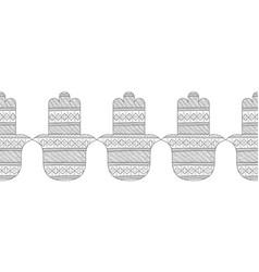 Hamsa hand black and white vector