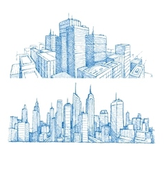Hand drawn cityscapes and buildings vector image