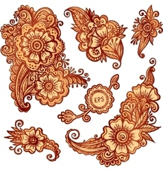Hand-drawn ornaments set in Indian mehndi style vector image