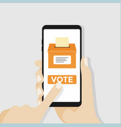 hand holding smartphone with voting button vector image