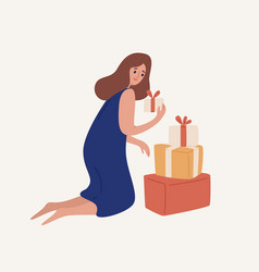 happy cartoon woman disassemble heap gift box vector image