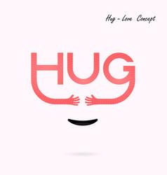 hug typographical and hand iconembrace or hug vector image