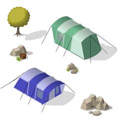 isometric set tourist tents vector image